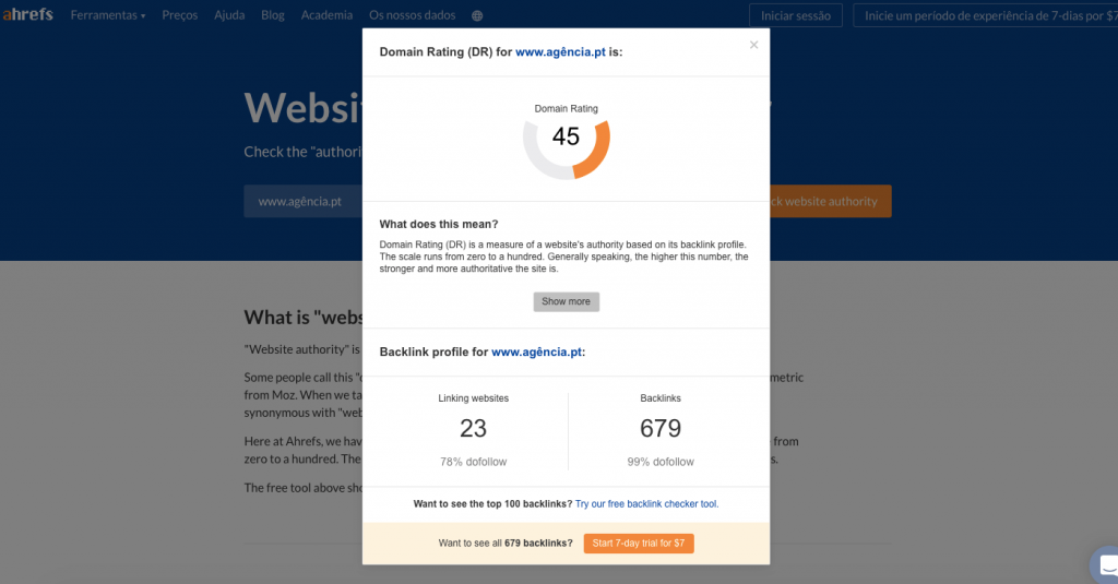 AHrefs - Website Authority checker