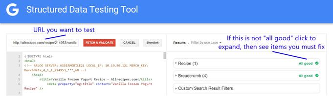 Exemplo de teste com Ferramenta de teste de dados estruturados da Google